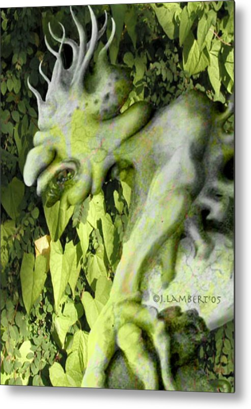 Green Metal Print featuring the digital art Floater In The Forrest by J P Lambert