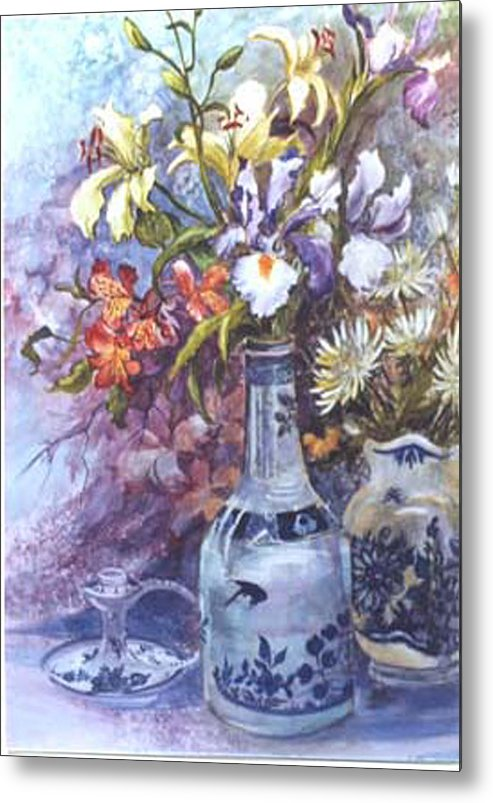 Floral;delft;blue;mauves;still Life;iris Metal Print featuring the painting Floral With Delft Ware by Lois Mountz