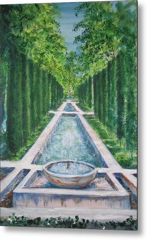 Fountain Metal Print featuring the painting Fountain Palma De Mallorca Capital by Lizzy Forrester
