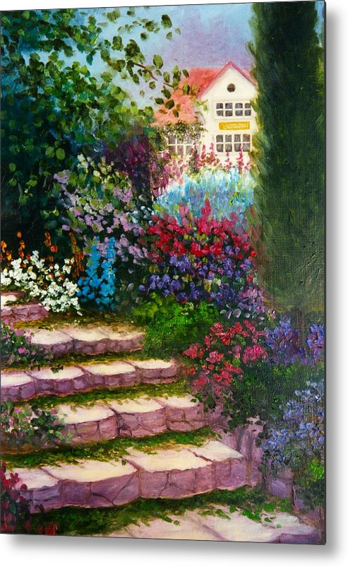 Cottage Metal Print featuring the print Garden Steps by Jeanene Stein