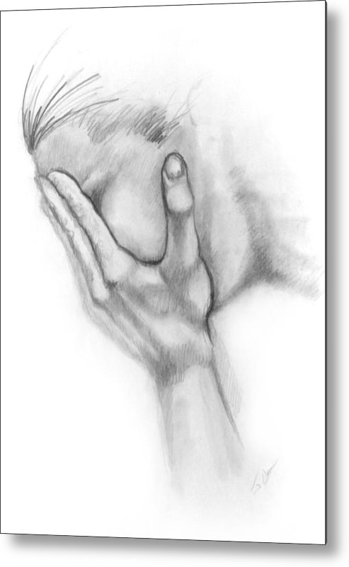 Grief Metal Print featuring the drawing Grief by John Clum