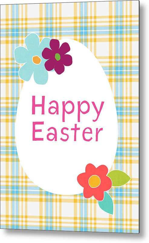 Easter Metal Print featuring the digital art Happy Easter Egg- Art By Linda Woods by Linda Woods