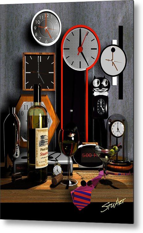 Clocks Metal Print featuring the digital art Happy Hour by Stuart Stone