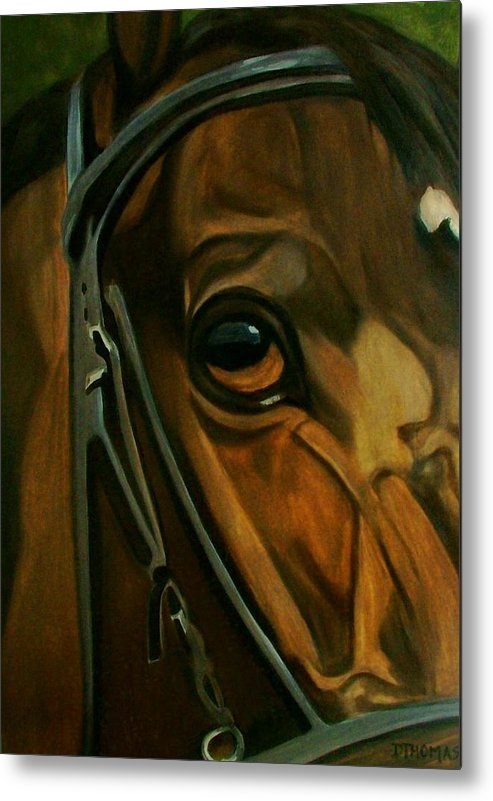 Horse Metal Print featuring the painting Head Stall by Donna Thomas