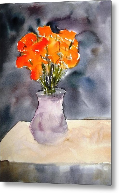 Watercolor Paintings Metal Print featuring the painting Impression Of Flowers by Larry Hamilton