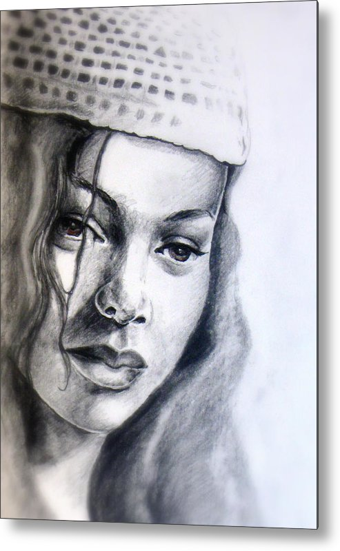 Female Metal Print featuring the drawing Knit Hat by Alphonso Edwards II