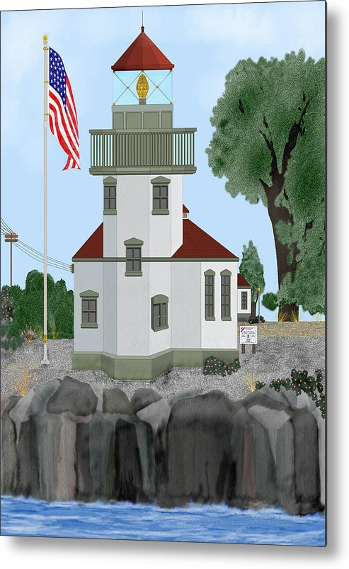 Lighthouses Metal Print featuring the painting Lime Kiln Light On San Juan Island by Anne Norskog