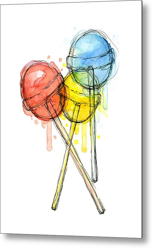 Lollipop Metal Print featuring the painting Lollipop Candy Watercolor by Olga Shvartsur