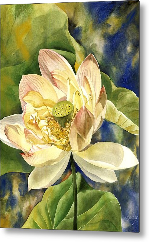 Flower Metal Print featuring the painting Lotus In Blooms by Alfred Ng