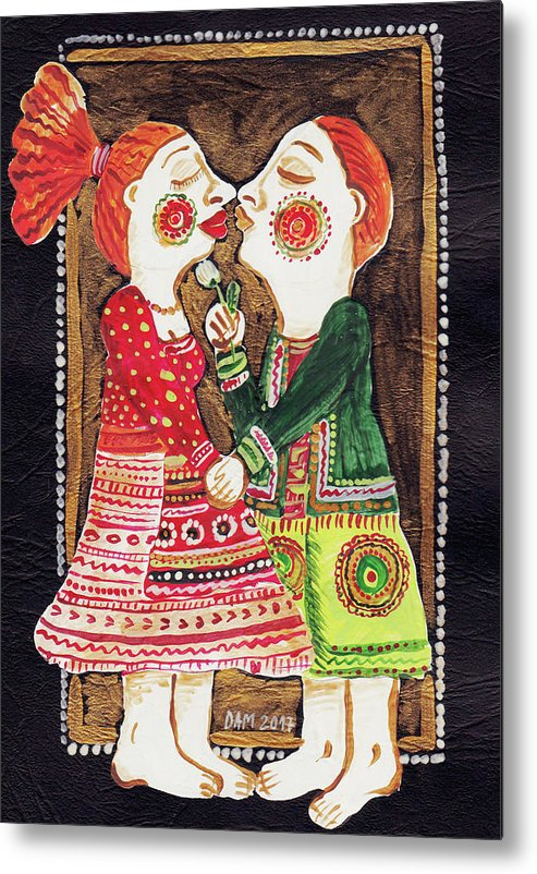 Folk Art Metal Print featuring the painting Lovers Kiss by Ana Dragan