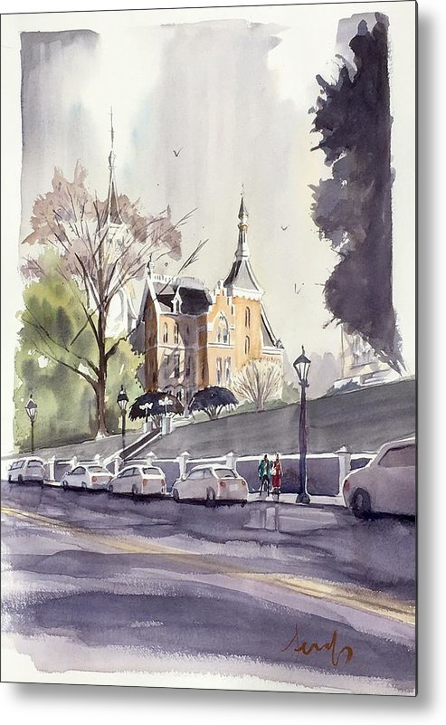 Mercer University Metal Print featuring the painting Mercer's Godsey Building by Scott Serafy