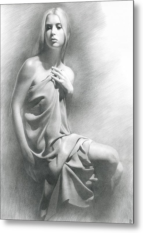 Girl Metal Print featuring the drawing Model Viii by Denis Chernov