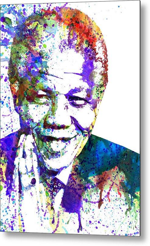 Nelson Mandela Metal Print featuring the painting Nelson Mandela by Dante Blacksmith