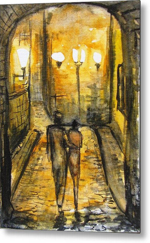 Landscape Metal Print featuring the painting Night Walk Together by Natalja Picugina