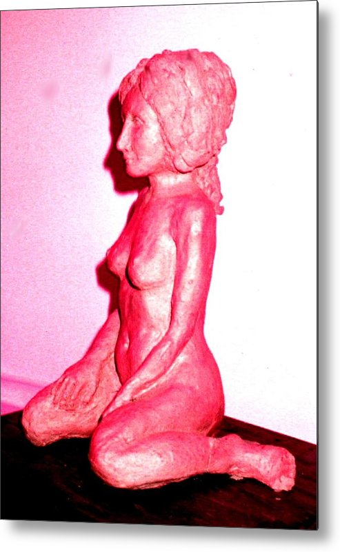 Sculpture Nude Woman Clay Metal Print featuring the sculpture Nude by Bethwyn Mills