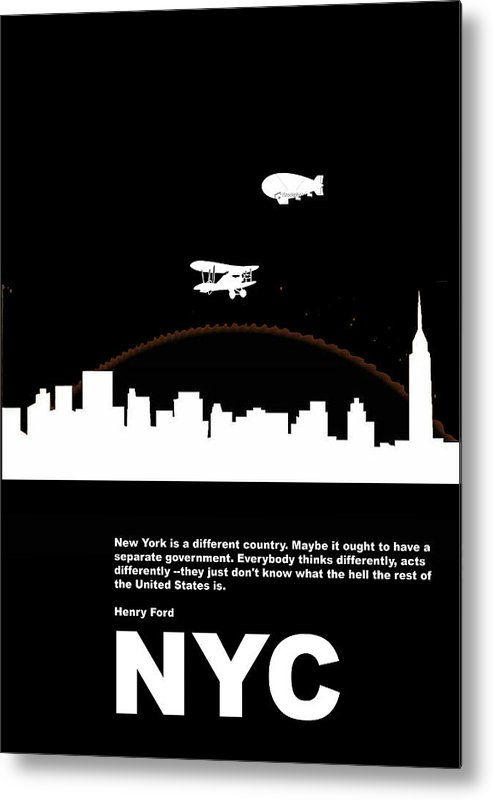 New York Metal Print featuring the photograph Nyc Night Poster by Naxart Studio