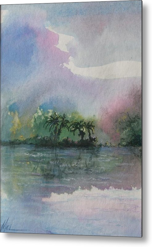 Tropical Island Metal Print featuring the painting Ocean Pearls by Melody Horton Karandjeff