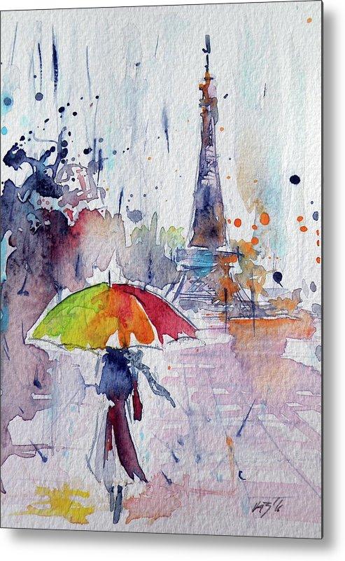 Paris Metal Print featuring the painting Paris by Kovacs Anna Brigitta