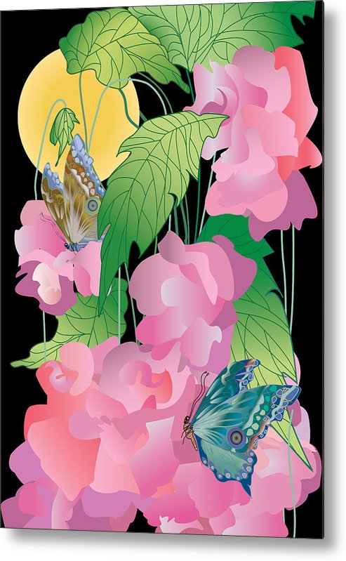 Pink Metal Print featuring the digital art Pink Blossoms by Lydia Davis