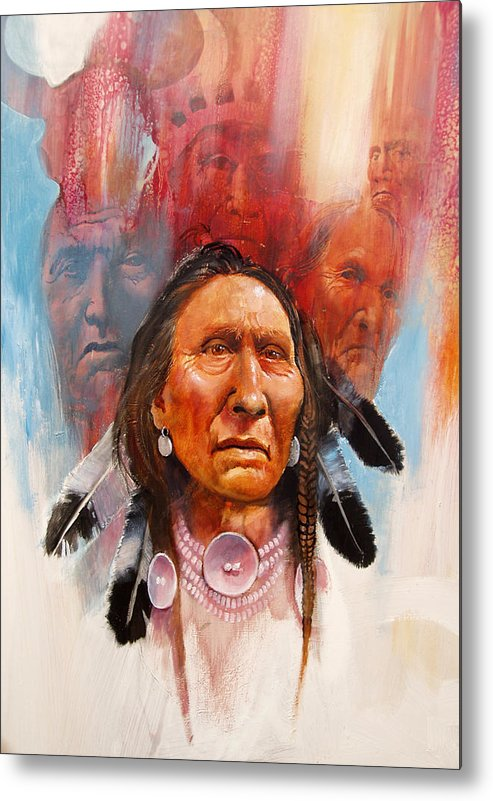 Native American Metal Print featuring the painting Proud Warrior by Robert Carver