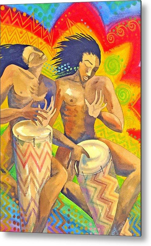 Drumming Caribbean Rythm Vibrance Colourful Rasta Metal Print featuring the painting Rasta Rythm by Jennifer Baird