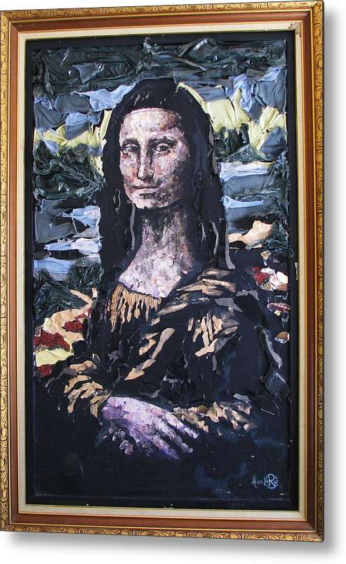 Mona Lisa Metal Print featuring the mixed media Recycled Mona by Alicia LaRue