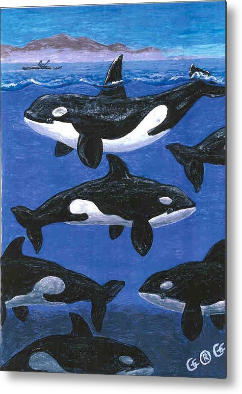 Orcas Metal Print featuring the painting Return Of The Whale by George I Perez
