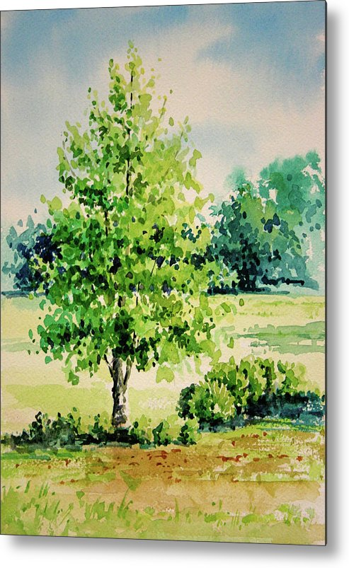 Landscape Metal Print featuring the painting Shalom Park Watercolor by Linda Eades Blackburn
