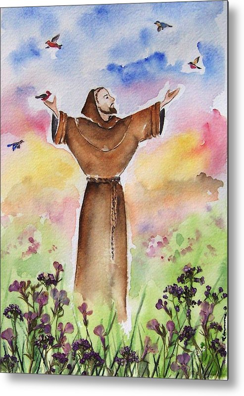Catholic Metal Print featuring the painting St Francis Of Assisi by Regina Ammerman