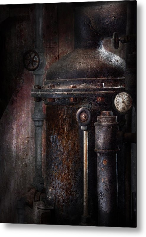 Hdr Metal Print featuring the photograph Steampunk - Handling Pressure by Mike Savad