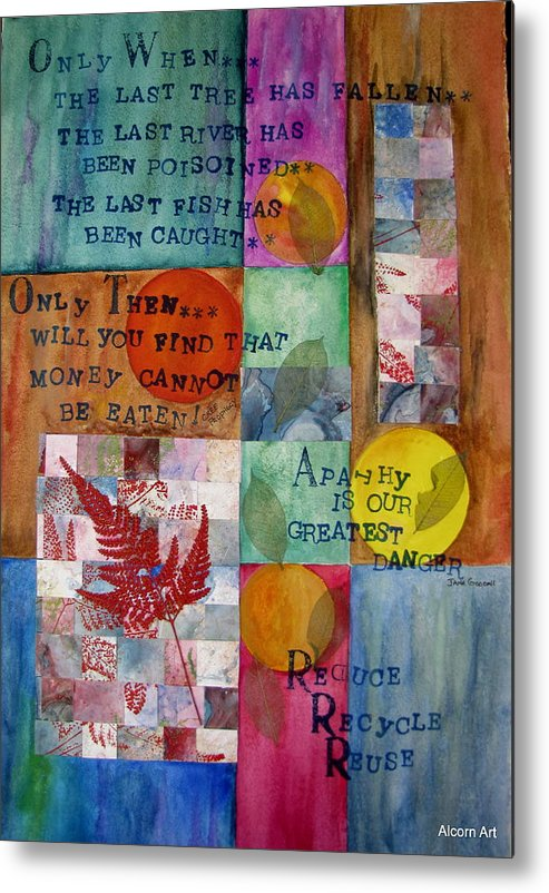 Word Art Metal Print featuring the mixed media Taking Care Of Life by Brenda Alcorn