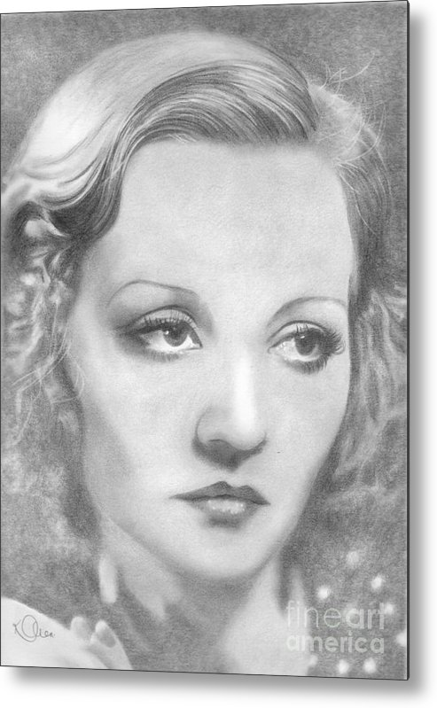 Tallulah Bankhead Metal Print featuring the drawing Tallulah Bankhead by Karen Townsend