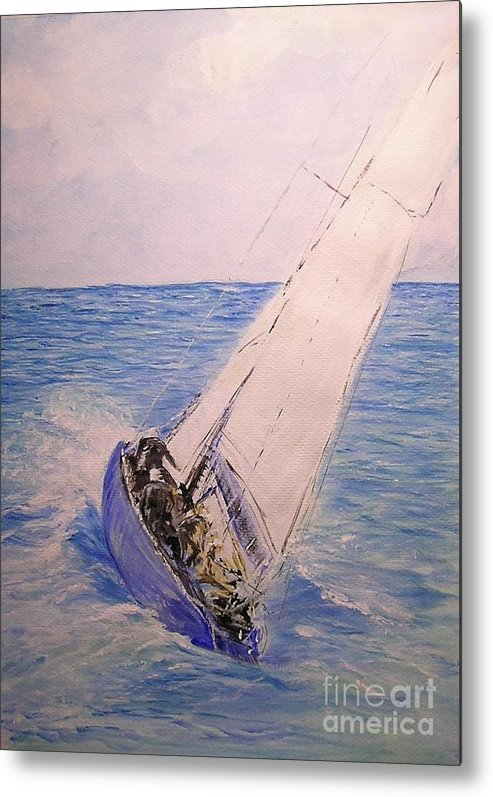 Seascape Metal Print featuring the painting Tell Tails In The Wind by Lizzy Forrester