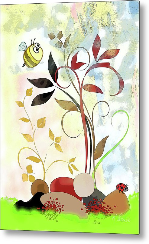 Bee Metal Print featuring the mixed media The Bee And The Ladybug by Ruth Palmer