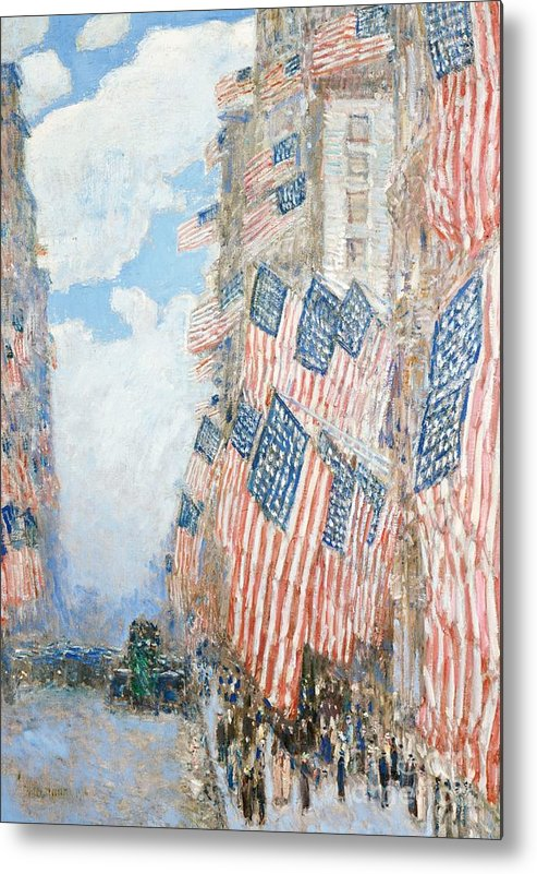 N Metal Print featuring the painting The Fourth Of July by Childe Hassam