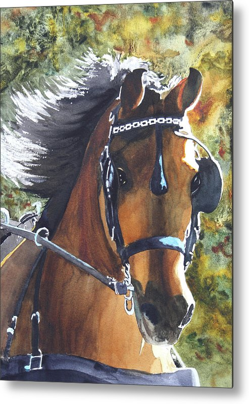 Horse Metal Print featuring the painting Victorious by Ally Benbrook
