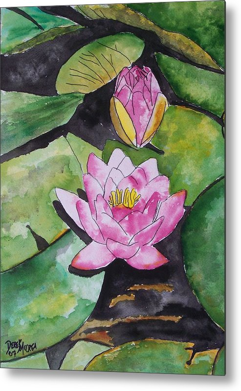 Water Lily Metal Print featuring the painting Water Lily by Derek Mccrea