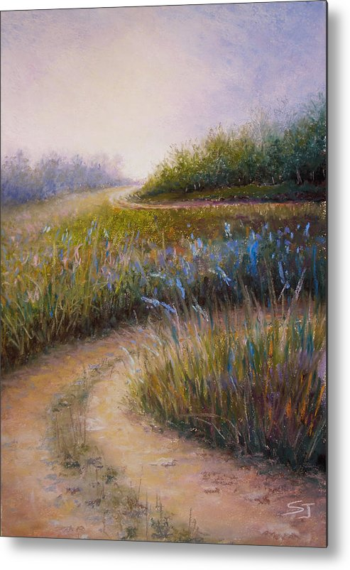 Lanscape Metal Print featuring the painting Wildflower Road by Susan Jenkins