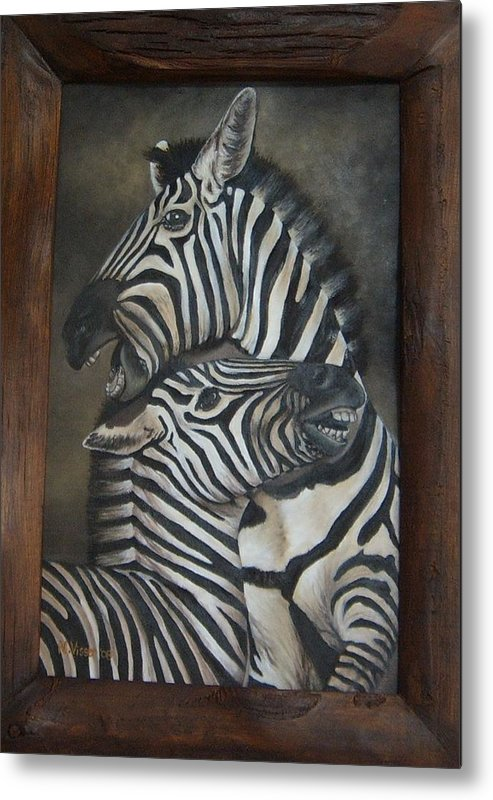 Zebras Metal Print featuring the painting Zebras by Nellie Visser