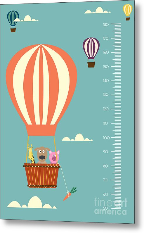 Altitude Metal Print featuring the digital art Balloon Cartoons ,meter Wall Or Height by Isaree