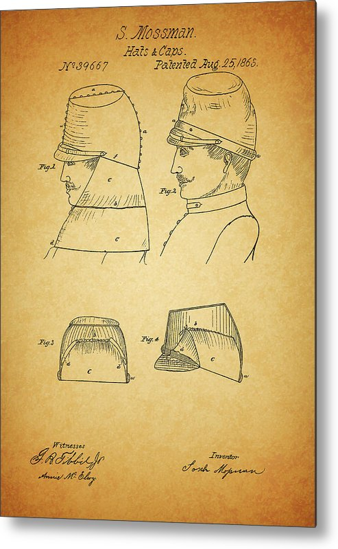 Civil War Military Hat Metal Print featuring the drawing Civil War Military Hat by Dan Sproul