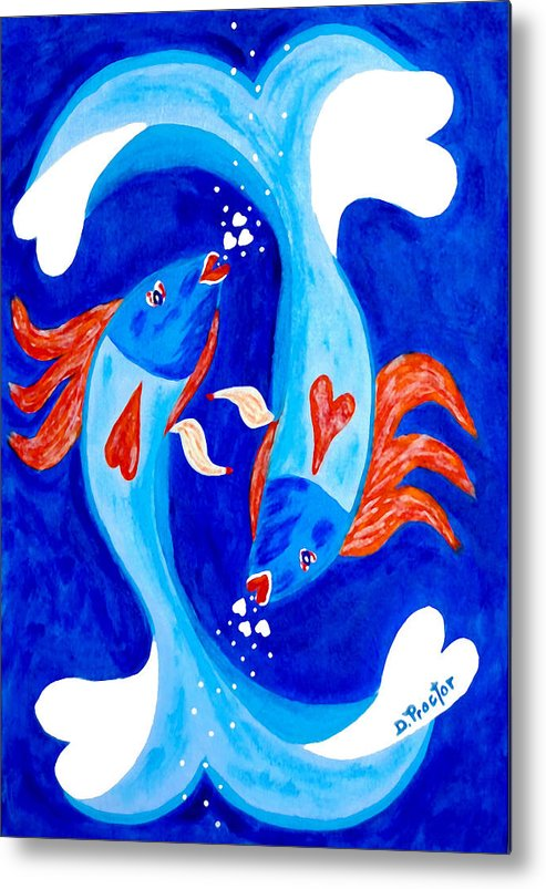 Fish Metal Print featuring the painting Fish Love by Donna Proctor