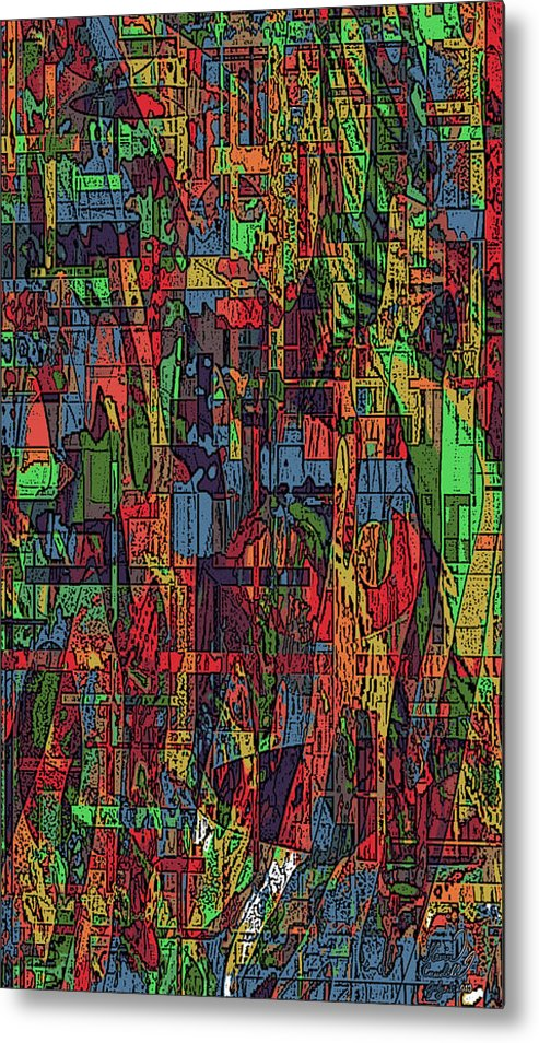 Abstract Metal Print featuring the mixed media A Walk In The Woods by Kevin Caudill