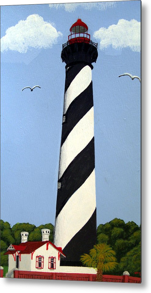 Lighthouse Paintings Metal Print featuring the painting St Augustine Lighthouse by Frederic Kohli