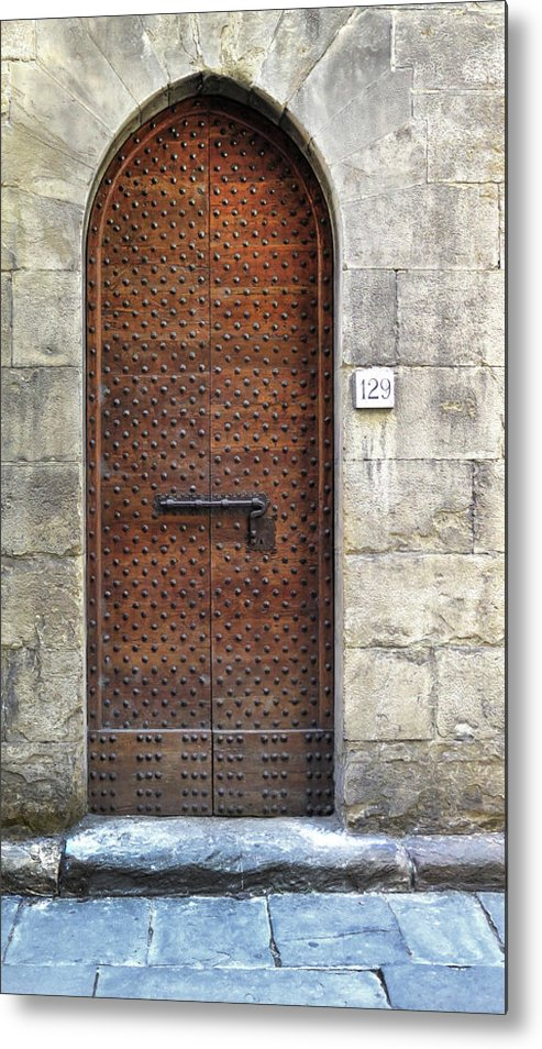 Florence Metal Print featuring the photograph Medieval Florence Door by Dave Mills