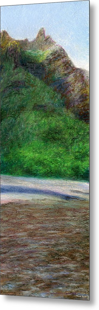 Rainbow Colors Pastel Metal Print featuring the painting Tunnels Beach by Kenneth Grzesik