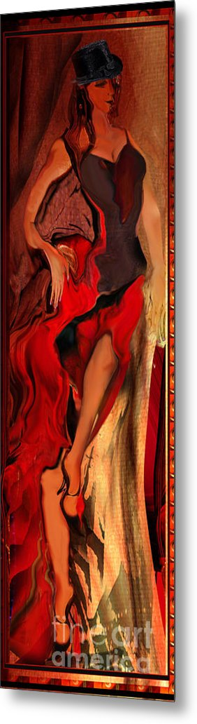 Woman Metal Print featuring the painting Debut In Red by Anne Weirich