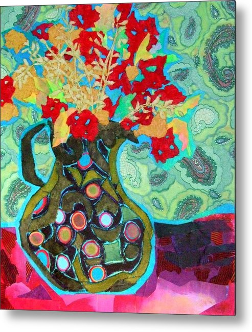 Flowers In A Vase Metal Print featuring the mixed media Artful Jug by Diane Fine