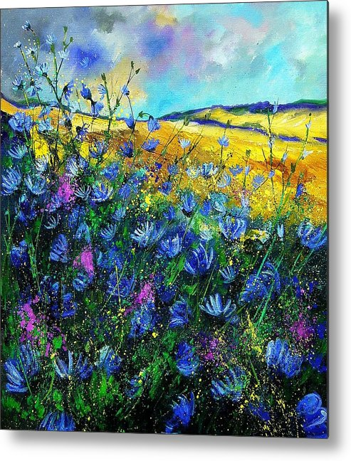 Flowers Metal Print featuring the painting Blue Wild Chicorees by Pol Ledent