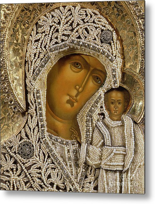 Black Madonna; Pearl; Negro Metal Print featuring the mixed media Detail Of An Icon Showing The Virgin Of Kazan By Yegor Petrov by Russian School